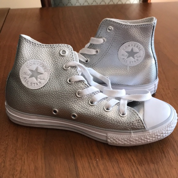 Girls Silver Converse High Tops Size